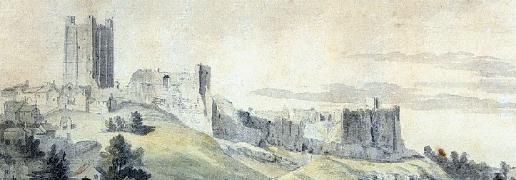 Paul Sandby RA, 1731–1809, British, View of Richmond Castle, Yorkshire, undated, Watercolor heightened with gouache on two sheets of laid paper, laid on a contemporary wash line mount, Yale Center for British Art, Paul Mellon Fund. Heavily cropped