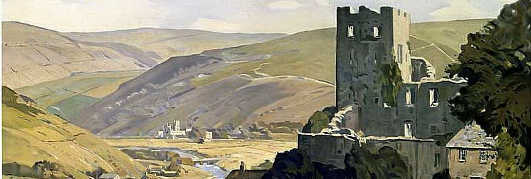 Barden Towers. This London & North Eastern Railway poster - 'North East Dales' was painted by Edwin Byatt in 1946. Ruins of Bolton Abbey in the distance.
