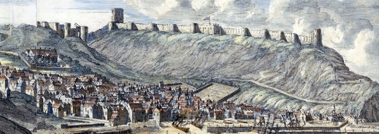 The Francis Place / Jan Kip view of Scarborough from the south, with Port and Spaw.; early C18. Jan Kip probably engraved and coloured Place's drawing with Place's approval. See the British Museum version of 1731 Ref: 1873,0712.53